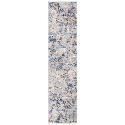 Moondust Gray/Blue 2 ft. x 8 ft. Geometric Runner Rug