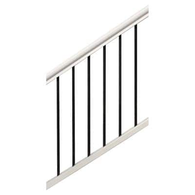 Premium 3 in x 68.35 in. x 36 in. White and Black Composite Stair Rail