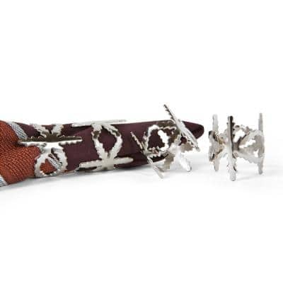 Winter Snowflake Holiday Silver Fractal Metal Napkin Rings (Set of 4)