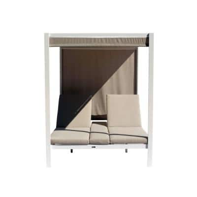 Idlewood Aluminum Outdoor Chaise Lounge with Beige Cushions