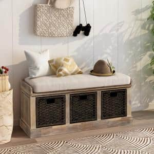 White Washed Entryway Storage Bench with Removable Cushion and 3-Removable Classic Fabric Basket