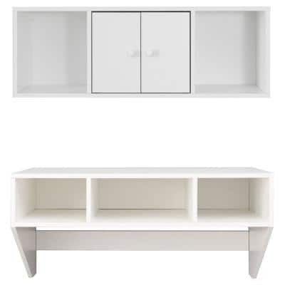 36 in. Rectangular White Floating Desk with Hutch