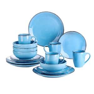 Series Navia Oceano Dinner Set 16-Pieces Vintage Aqua Blue Prcelain with Dinner Dessert Plate Bowl Mug (Service for 4)