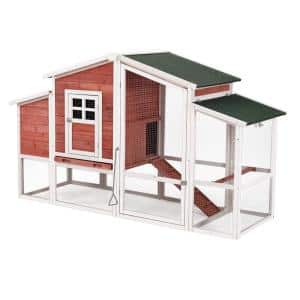 Chicken Coop Rabbit Hutch Wooden Small Animal Cage with Ramp and Tray, Red