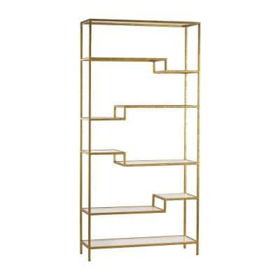 74 in. Gold Metal 10-shelf Accent Bookcase with Open Back