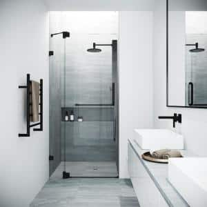 Pirouette 36 to 42 in. W x 72 in. H Pivot Frameless Shower Door in Matte Black with Clear Glass
