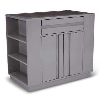 Linear Gray Kitchen Island with Swirl Quartz Top