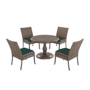 Windsor 5-Piece Brown Wicker Round Outdoor Patio Dining Set with CushionGuard Charleston Blue-Green Cushions