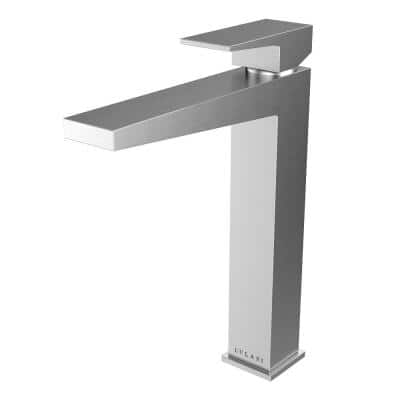 Boracay Collection. Single Hole Single-Handle Vessel Bathroom Faucet. in Brushed Nickel finish