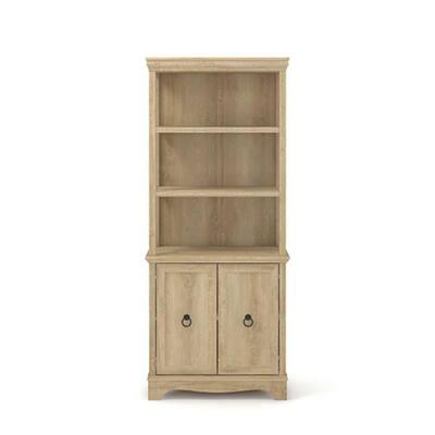 Adaline Cafe 72.323 in. Orchard Oak Engineered Wood 5-Shelf Standard Bookcase with Doors