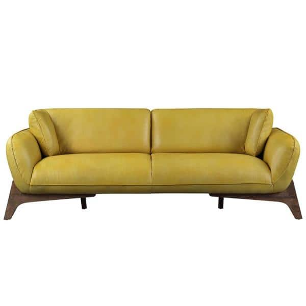Acme Furniture Mustard Leather Pesach Sofa   The Home Depot