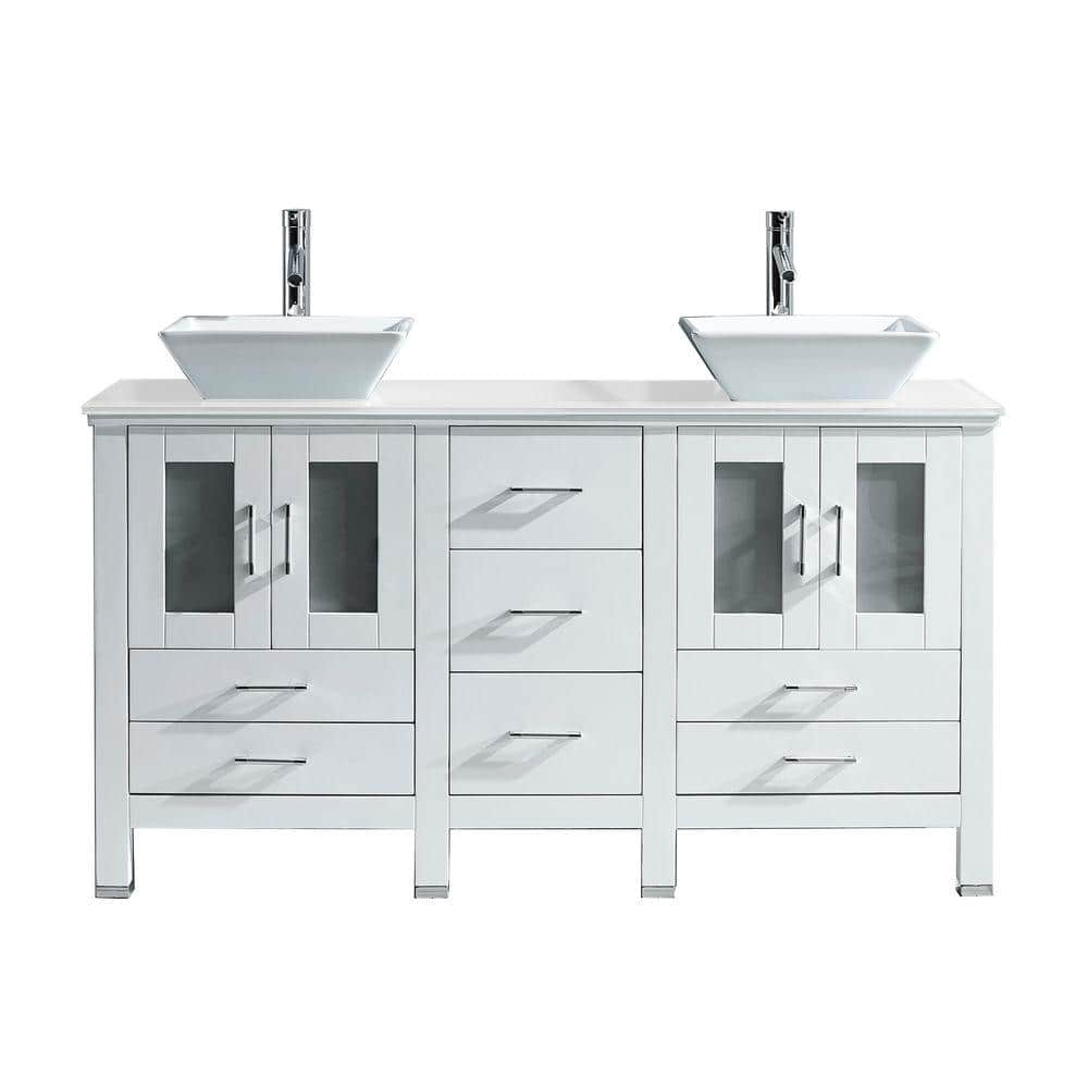 Virtu Usa Bradford 60 In W Bath Vanity White With Stone Top Square Basin Md 4305 S Wh Prst The Home Depot