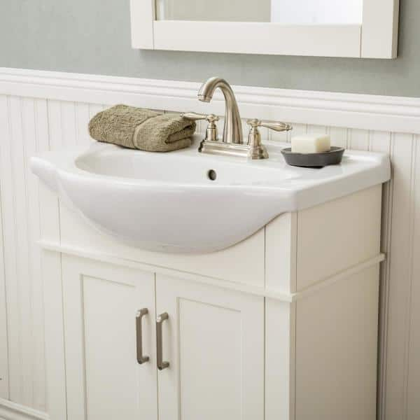 Seattle 24 In W X 17 5 In D X 34 75 In H Vanity In White With Porcelain Vanity Top In White With White Basin Va24200wt The Home Depot
