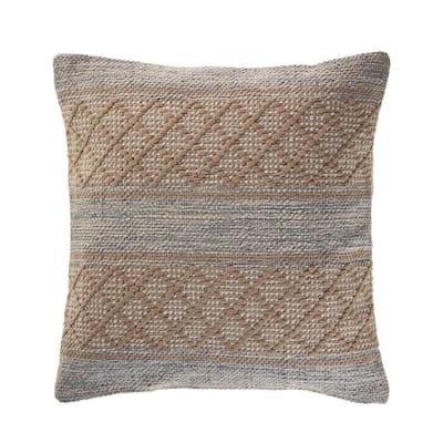 Alrin Beige Criss Cross Geometric Trellis Cozy Poly-Fill 20 in. x 20 in. Throw Pillow