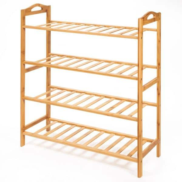 Barton 29 75 In H X 26 5 In W 4 Tier 16 Pair Bamboo Shoe Rack Shelf Storage Organizer In Natural Brown 90067 The Home Depot