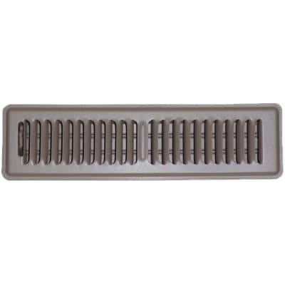 2.25 in. x 14 in. Steel Floor Grille, Brown with Damper and 2-Way Louvers