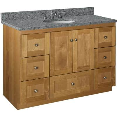 Shaker 48 in. W x 21 in. D x 34.5 in. H Simplicity Vanity Center Basin with Side Drawers in Natural Alder