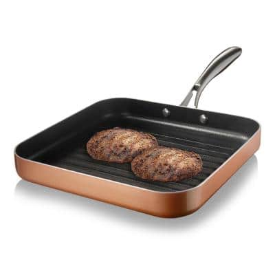 10.5 in. Copper Cast Textured Surface Aluminum Non-Stick Grill Pan