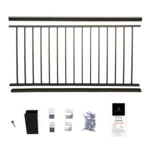 36 in. x 6 ft. Black Powder Coated Aluminum Preassembled Deck Railing