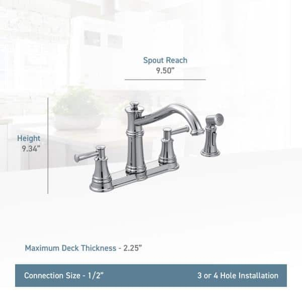 Moen Belfield 2 Handle Standard Kitchen Faucet With Side Spray In Oil Rubbed Bronze 7255orb The Home Depot