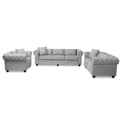 Alaise 3-Piece Gray Living Room Set