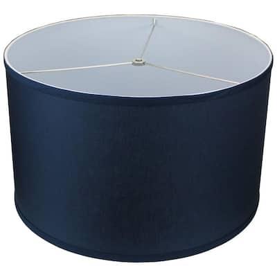 18 in. Top Diameter x 18 in. Bottom Diameter x 11 in. H Linen Navy Blue Drum Lamp Shade