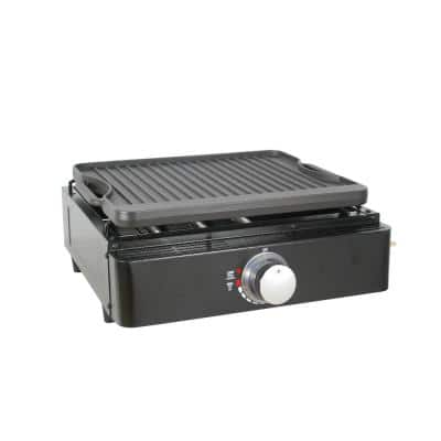 Single Burner Tabletop Propane Reversible Griddle in Black with 2 Separate Griddle Surfaces