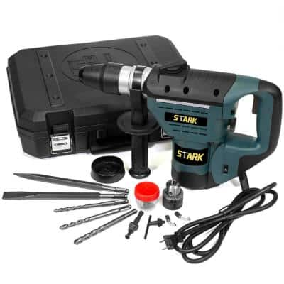 8.3 Amp 1/2 in. Corded Electric SDS-Plus Rotary Hammer Drill Kit with Chisel Bit Set