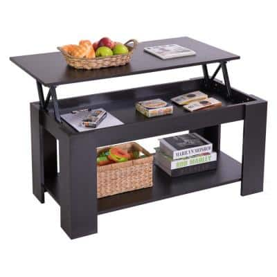 40 in. Black Medium Rectangle Wood Coffee Table with Lift Top
