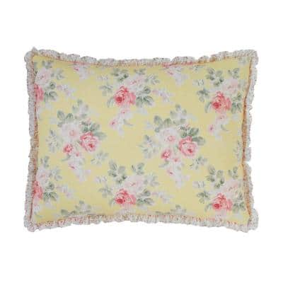 Melany 1-Piece Yellow Floral Cotton Standard Sham