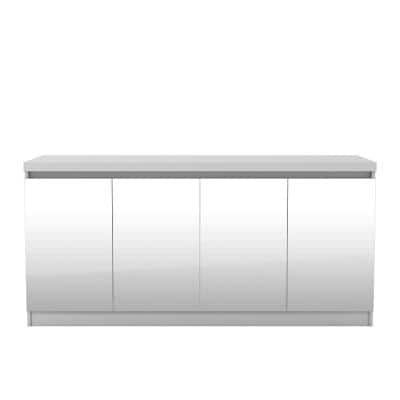 Viennese 62.99 in. White Gloss 6-Shelf Buffet Cabinet with Mirrors