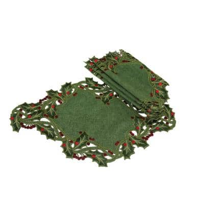 12 in. x 18 in. Green Holiday Holly Embroidered Cutwork Placemat (4-Set)