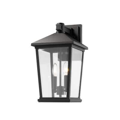 Filament Design 3 Light Black Outdoor Wall Sconce With Clear Beveled Glass Hd Te32168 The Home Depot