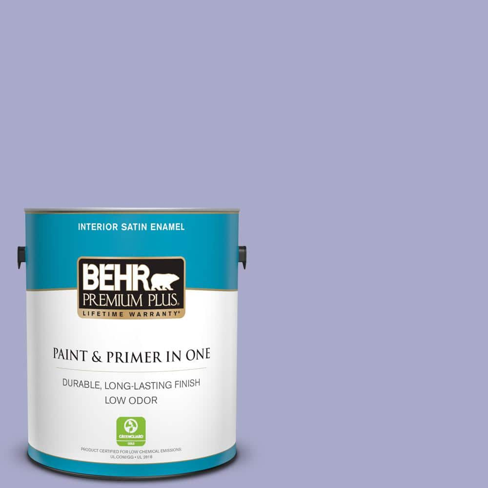 Behr Premium Plus 1 Gal M550 4 Wisteria Blue Satin Enamel Low Odor Interior Paint And Primer In One 705001 The Home Depot