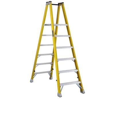 6 ft. Fiberglass Platform Step Ladder 9 ft. Reach height with 250 lbs. Load Capacity, Type I Duty Rating