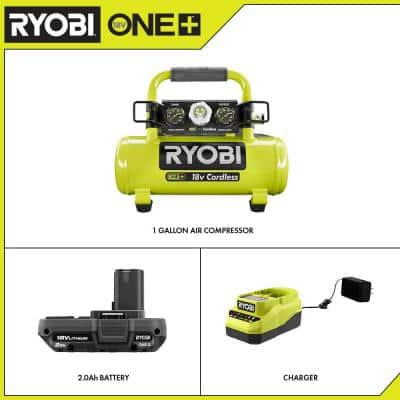 ONE+ 18V Cordless 1 Gal. Portable Air Compressor and 2.0 Ah Compact Battery and Charger Starter Kit