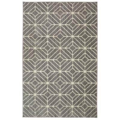 Quilted Geo Gray 8 ft. x 10 ft. Area Rug