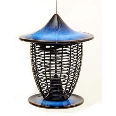 10 in. Cobalt Blue Ceramic Feeder With Cage