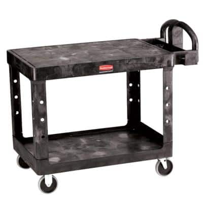 Heavy Duty 2-Shelf Resin Utility Cart in Black with Flat Shelf in Medium