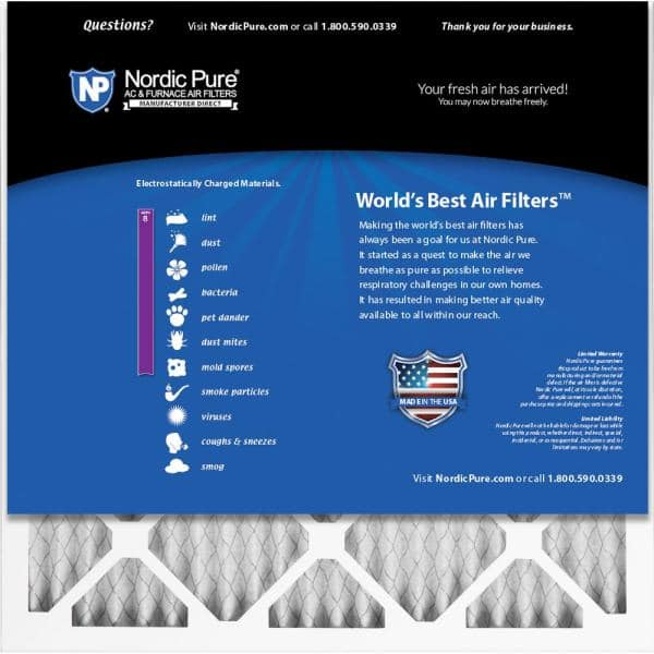 Nordic Pure 14x28x1 Exact MERV 8 Pleated AC Furnace Air Filters 2 Pack,