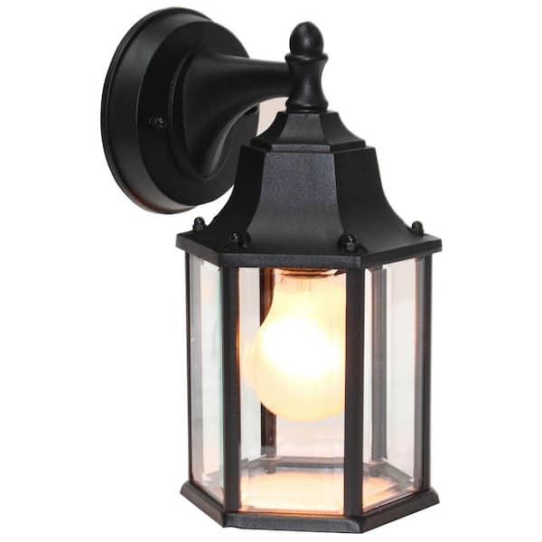 1 Light Black Outdoor Wall Lantern, Home Depot Outdoor Wall Lighting Black