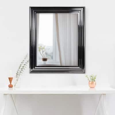 Medium Rectangle Black Modern Mirror (25 in. H x 21 in. W)