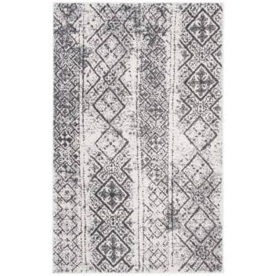 Adirondack Silver/Black 6 ft. x 9 ft. Area Rug