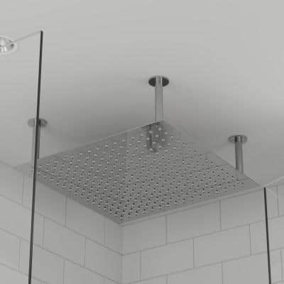 1-Spray 24 in. Single Ceiling Mount Fixed Rain Shower Head in Polished Stainless Steel