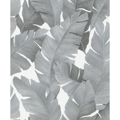 Attalea Grey Palm Leaf Strippable Wallpaper Covers 57.5 sq. ft.