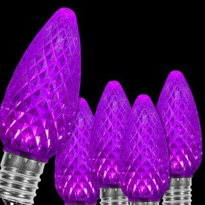 OptiCore C9 LED Purple Faceted Replacement Light Bulbs (25-Pack)