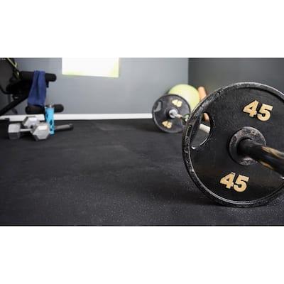 Black 25.2 in. x 25.2 in. x 0.68 in. Foam Shock Absorbing Gym Floor (17.64 sq. ft.) (4-Pack)