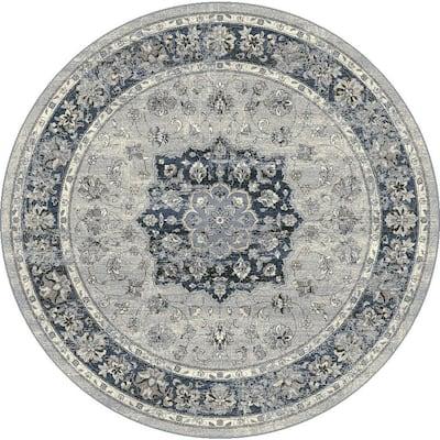 Ancient Garden Silver/Blue 8 ft. x 8 ft. Round Indoor Area Rug