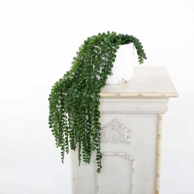 17.5 in. L Faux String of pearls in 4.75 in. Marble Gold Finish Cement Planter