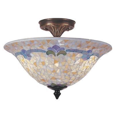 Johanna Mosaic 3-Light Antique Brass Finish Semi-Flush Mount
